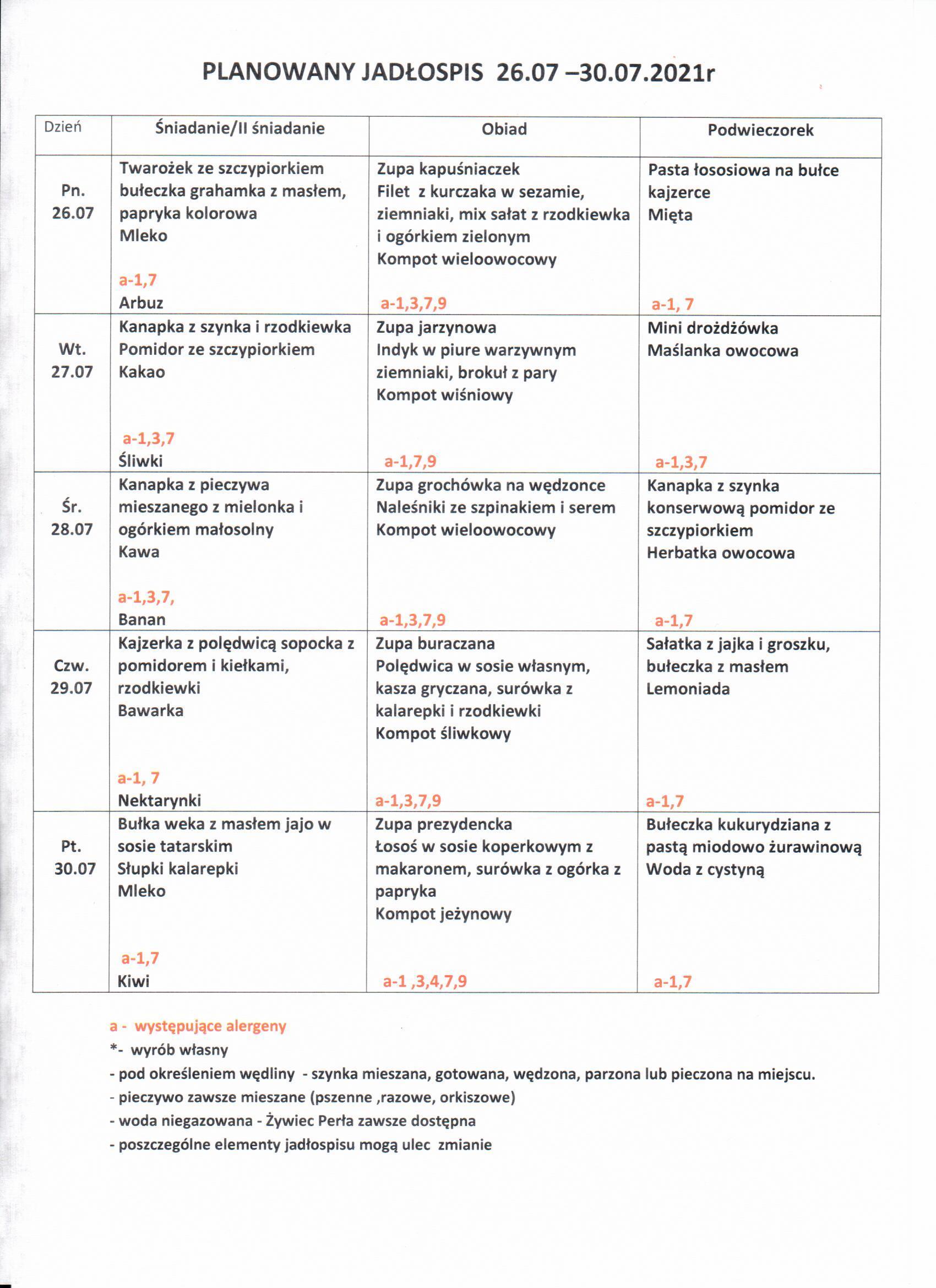 Jadłospis 26-30.07